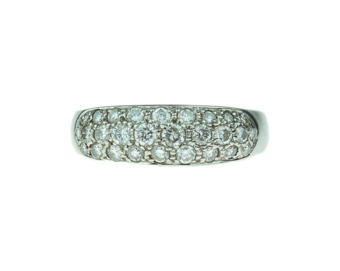 18 kt gold women's ring with brilliant cut diamonds 0.84 ct - ring size 17