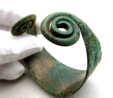 Medieval Viking period Bronze Bracelet with Coiled Terminals  - 53 mm