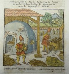 Georgius Agricola  - Separating silver from gold. 2 handcoloured woodcuts - 1580