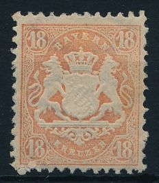 Old Germany Bavaria - 1870 - 1875 - small collection with 18 Kreuzer, orangey red, Michel 27