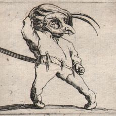 Jacques Callot ( 1592-1632 ) - Masked dwarf with contorted legs - First state