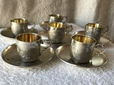 Six silver gilt cups and saucers - Germany, 19th century