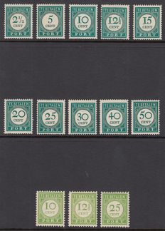 Curaçao 1945/1948 - Postage due, number and value in yellowish green (English print) and dark green - NVPH P31/P33 + P34/P43