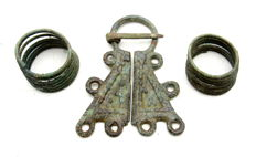 Lot of Medieval Viking period Bronze Penannular Brooch & 2 Coiled Beard Rings - 20-56mm