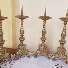 Rare set of 4 brass altar candlesticks - Flanders - 17th century