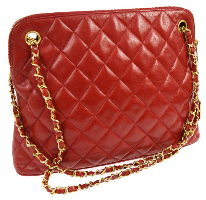 Chanel - Red Quilted Chain Shoulder bag - Vintage - Catawiki : red quilted bag - Adamdwight.com