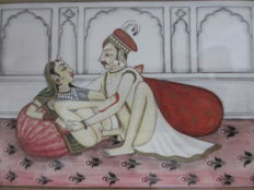 Miniature painting on ivory with scene of two young lovers  - India - ca. 1930