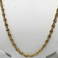 18 kt Solid necklace of yellow gold with cable-style links - Length: 45 cm