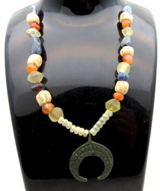 Medieval Viking Era Necklace with Amber, Glass & Stone Beads and a Bronze Lunar Pendant - 245 mm