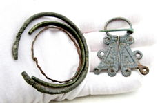 Lot of Medieval Viking period Bronze Penannular Brooch & 3 Bracelets - 45-60mm
