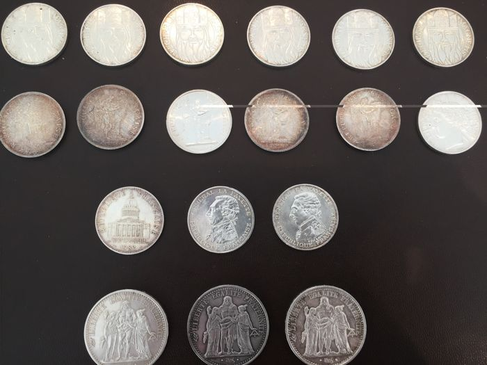 France – Lot of 18 coins (10 Francs and 100 Francs) 1965/1990 – silver