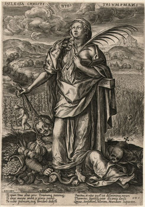 Joan Wierix (1539-1620) - Triumphant Church - Faith trampled Heresy & Death