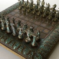 Vintage Hand made Greek chess table with beautifully detailed Bronze chess pieces
