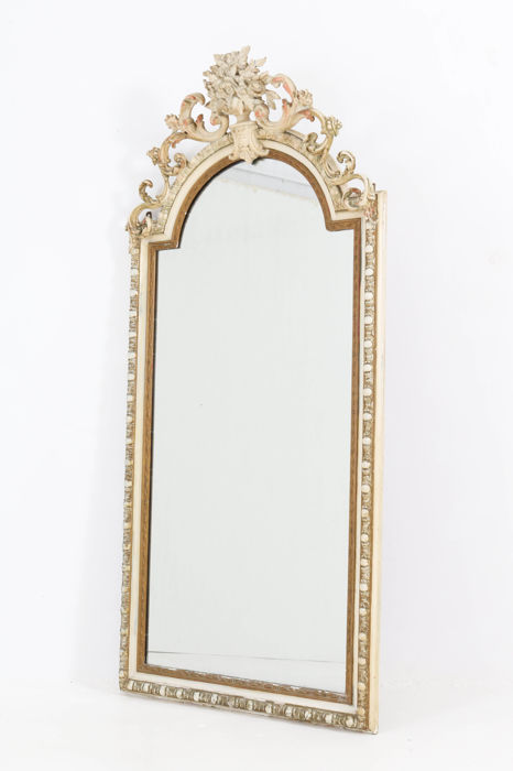 Large painted French Baroque mirror