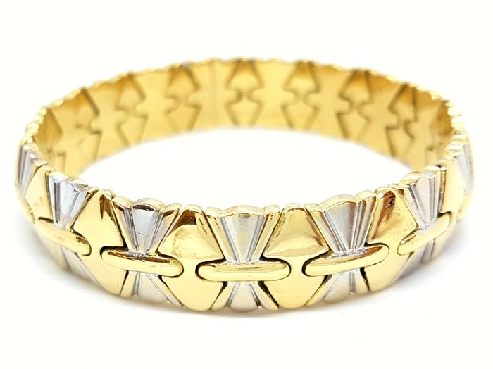 Bracelet - Two-tone - 18 kt yellow and white gold - Size: 19 cm