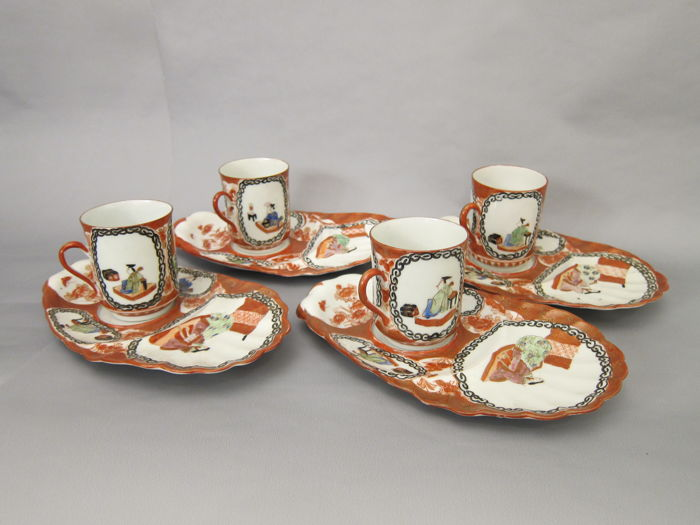 Four detailed painted and gilded Hirado porcelain tray and cups - marked 'Mikawachi'  - Japan - Early 20th century