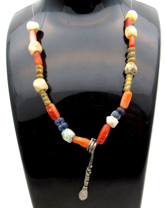 Medieval Viking Era Necklace with Amber, Glass & Stone Beads and a Silver Mace Shaped Pendant - 220 mm