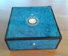 Official INTER football team box modified into a cigar humidor