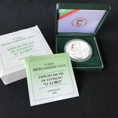 Portugal Republic – 1000 Escudos – Endangered Species – The Wolf – II Ibero-American Series – Silver – Proof