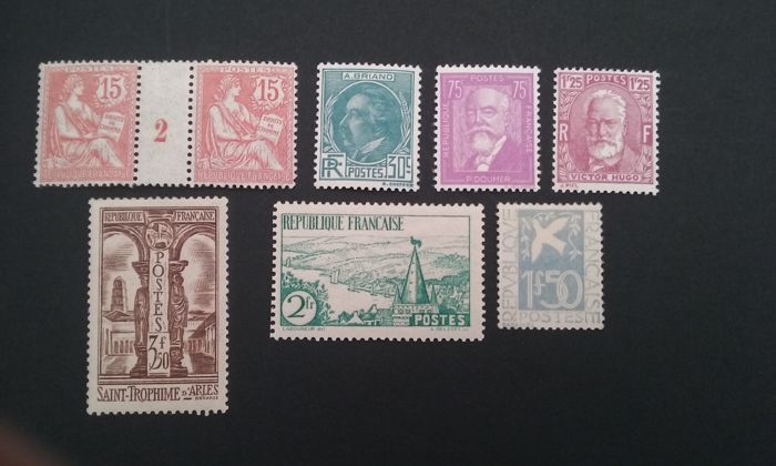 France 1902/1935 - Semi modern selection - Yvert 125, 291 à 293, 294, 301 and 302