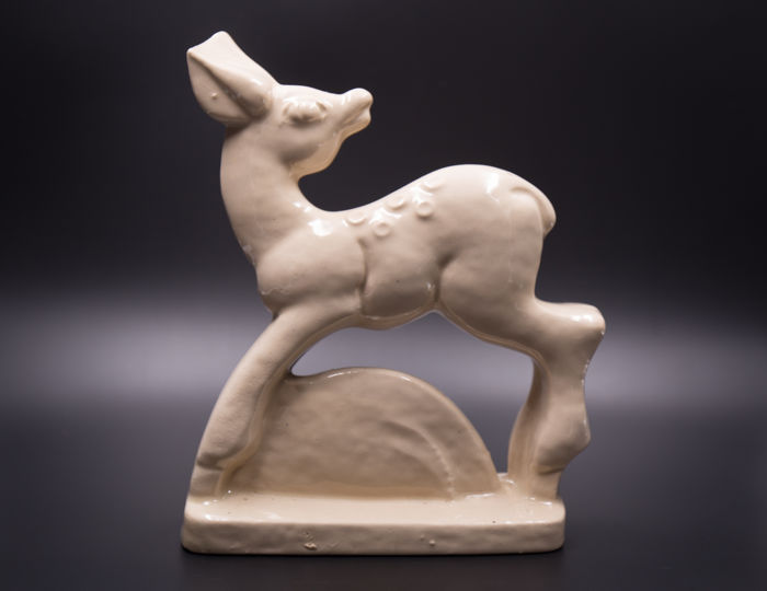 Art Deco faience sculpture of a fawn/ deer