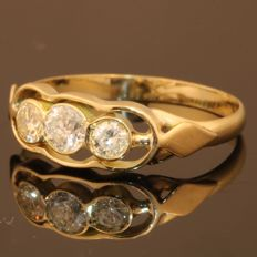 Gold brilliant cut diamond ring from the sixties