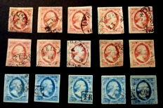 The Netherlands 1852 - Batch of 1st emission - NVPH 1 (5 x) and 2 (10 x)