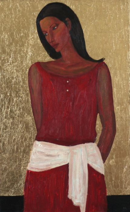 Edward Rychter  - Girl in red dress