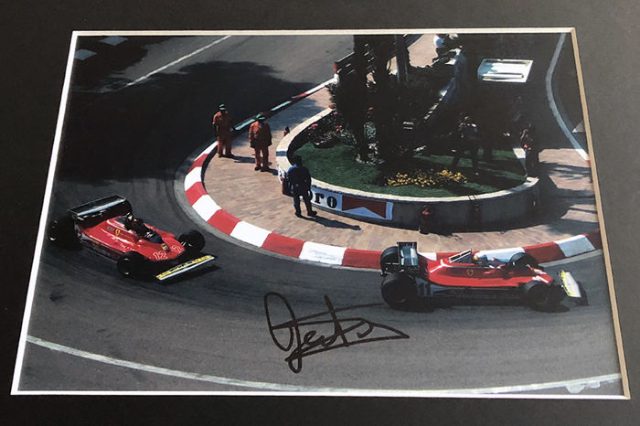 Monaco Ferrari F1 scenery photo, Gilles Villeneuve and Jody Scheckter, authentic signed by Jody Scheckter