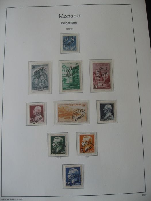 Monaco - Collection of pre-cancelled stamps and duty stamps