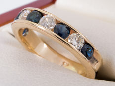 1.03 Ct - elegant diamond & sapphire half eternity ring -  **NO Reserve price**