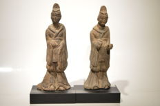 Pair of Northern Wei dynastie dignitaries   - Size 160 mm
