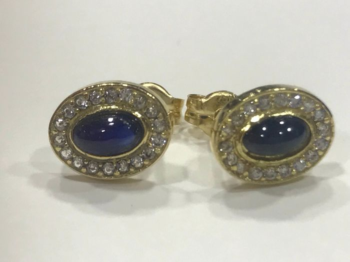 Earrings made of 18 kt Gold with Sapphire and Zircons