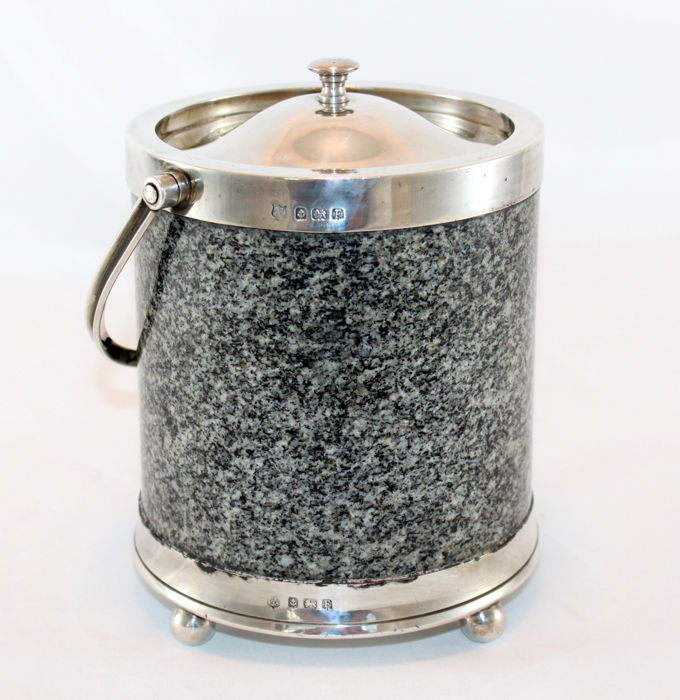 Vintage silver and marble ice bucket - Barker Brothers Silver Ltd - Birmingham - 1930