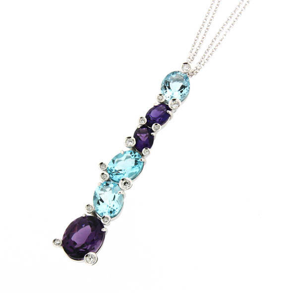 ITitoli - 18 kt. White gold - Necklace with pendant Amethyst