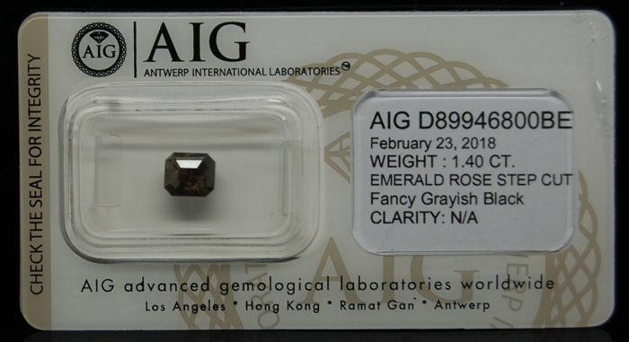 1.40 Cts Certified Natural Fancy Grayish Black Diamond -No reserve