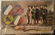 Set of 276 French / Italian fantasy postcards, polychrome, themes: homeland, French soldiers, WWI 14/18