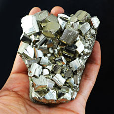 Cubic Pyrite Crystal Cluster - Very Shinny Crystals - 83x62x35 mm - 468 gm