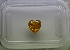 0.74 ct - Natural Fancy Diamond - VIVID Yellow - SI2 - NO RESERVE