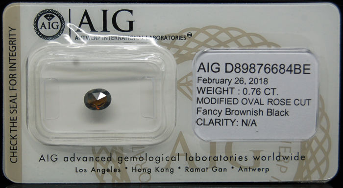 0.76 Cts Certified Natural Fancy Brownish Black Diamond -No reserve