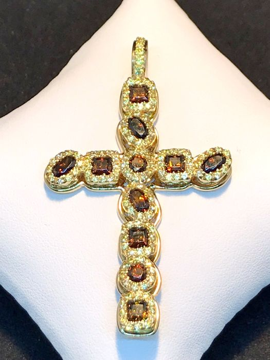 Cross in 18 kt yellow gold and coloured zircons