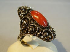 Handmade ring with genuine, large red Sardinia coral cabochon of 5 ct