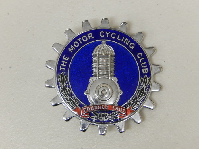 Vintage Metal and Enamel The Motor Cycling Club Car Badge Auto Emblem Very Good Condition