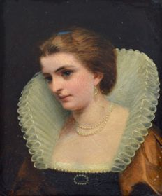 James Hayllar (1829-1920) - Portrait of a lady wearing a ruff and pearls