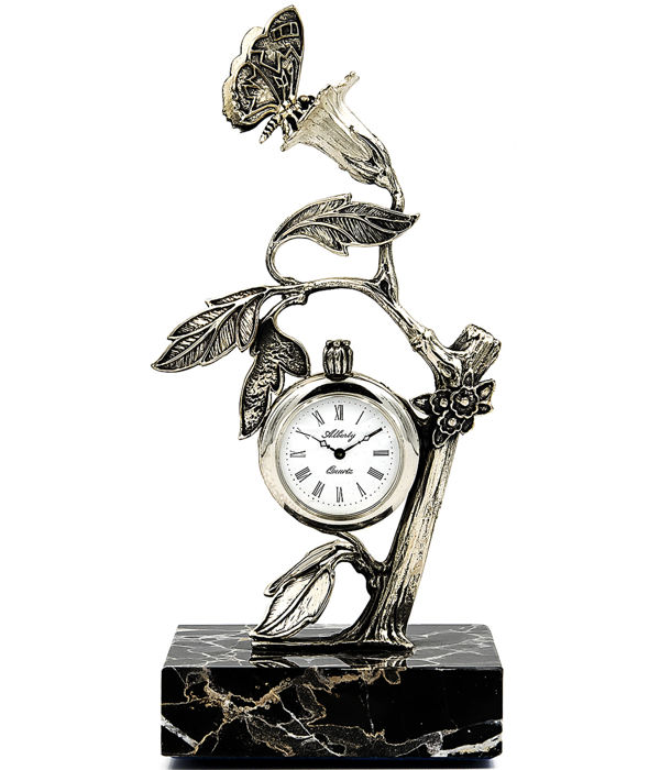 Alberty figure/clock crafted in sterling silver, with a wild plant motif and a butterfly sucking nectar from the flower, finished with a marble base
