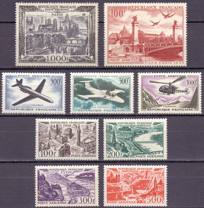 France 1949/1959 - Collection of stamps and complete series of airmail stamps - between Yvert Airmail no. 24 and 37