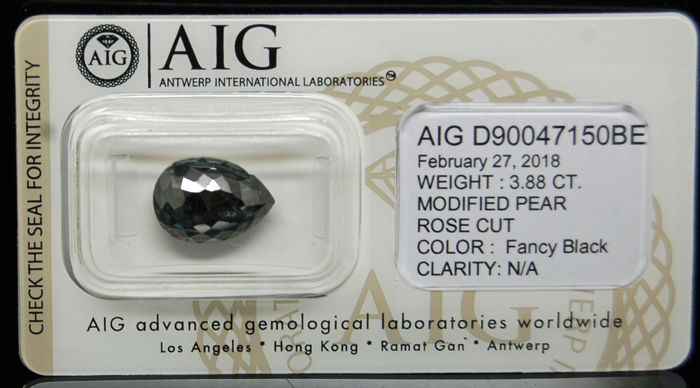 3.88ct. Certified Natural Fancy Black Diamond - NO RESERVE