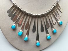 Antique silver Navajo necklace with Turquoise