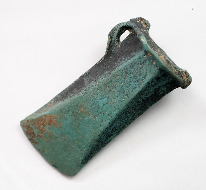 Bronze age bronze socketed axe head - 100 mm x 45 mm