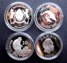 Botswana, Zambia, Tonga, Gambia - Lot various coins 1986/1987 '25th Anniversary WWF' (4 pieces) - silver